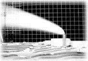 ▲ 進 行 中 的 焚 化 廠 廢 氣 擴 散 模 擬 實 驗 。 ( 風 洞 實 驗 室 提 供 )