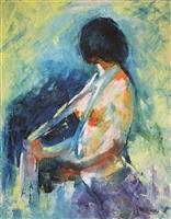 林授昌.青春無悔-- 本畫作者林授昌,為66年自本校畢業,現為新竹市美術協會理事長。(圖/文錙藝術中心提供)