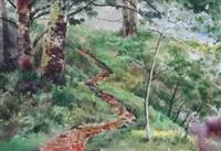 ↑水彩作品「鹿林山小徑」為文錙藝術中心「台灣的森林水彩特展」展品之一,是中華亞太水彩藝術協會理事長洪東標2007年的作品,曲折的小徑穿越草坡、密林在清晨薄霧的清新空氣中,舖陳出一幅寧靜優美的情境。