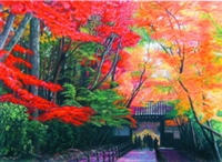 文錙藝術中心舉辦「亞洲當代繪畫聯盟展」,許多知名畫家參展,上圖為日本國寶級大師古賀正夫的《光明寺的紅葉》粉彩作品。(圖�文錙藝術中心提供)