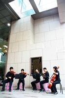 圖書館十週年慶活動中,弦樂社氣質伴奏。(記者鄭文煒攝)