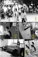 1.禁行車輛的文館前小麥步道,上、下課同學放心在此步行、聊天,無後顧之憂。2.文館三樓的「創意紅」現代感十足,活動海報、書籍展示、液晶電視播放創意影片,一面牆給你知識無限。3.裝設在商館電梯前的液晶電視,每天播放不同主題的影片,師生等電梯時不但不覺無聊,還可以利用時間增長見聞。4.商館十樓穿廊新設沙發椅,同學們課餘會在這裡聊天、看書、討論功課,不但美化空間也提供更好的學習環境。5.牧羊草坪上多了李雙澤紀念碑相伴,學生在此辦活動或休憩,也能一邊回味民歌在淡江的盛況。