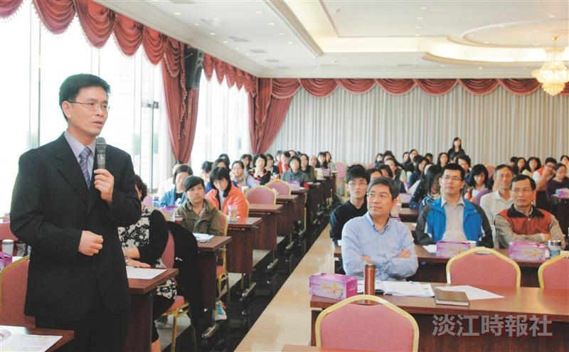 品保處稽核長白滌清在100學年度全面品質管理研習會中提問。