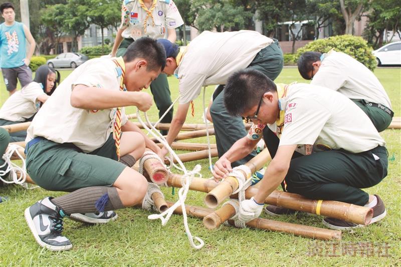 童軍技能賽 百人在淡江爭榮譽