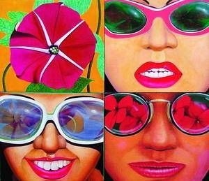 3月13日起,文錙藝術中心舉辦的「台北現代畫展」中,藝術家劉獻中的畫作《她們都愛花很大》,以油畫具象表現,女性戴太陽眼鏡中反映的花朵,充滿後普普趣味。(圖�文錙藝術中心提供)