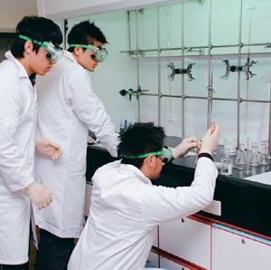 化學系日前舉辦全國「2008鍾靈化學創意競賽」,高中生聚精會神地做實驗,期盼為校爭光。(圖�化學系提供)