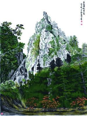 文錙藝術中心副主任張炳煌於「  筆書畫藝術展」中,展出的作品「茂松高岩」。(圖�文錙藝術中心提供)
