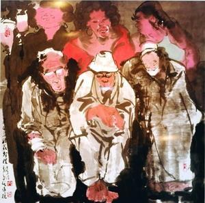 文錙藝術中心主任李奇茂獲選為淡水最具特色藝文創作者,上圖為他目前在淡水藝文中心展出的作品。(攝影�王文彥)
