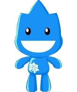 圖為行銷組作品「三峽•藍」設計的動畫公仔bululu 。(資料來源�洪翎凱提供)