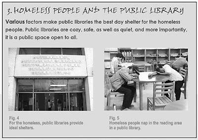 圖書館安靜、舒適,為遊民遮風避雨的好去處。