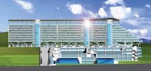 即將於七月初正式動工的蘭陽校園,第一期將先蓋宿舍大樓、教學大樓、餐廳和國際會議廳,地上物工程立面圖壯觀雄偉。